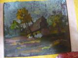 "Tablou vechi ""Casa la tara"" Iosif Steurer, Peisaje, Ulei, Impresionism"