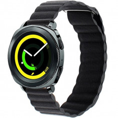 Curea piele Smartwatch Samsung Gear S3, iUni 22 mm Black Leather Loop