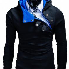 Hanorac pentru barbati, cu gluga, inchidere laterala, fermoar si capse, sport - paco-negru-albastru, XL, XXL