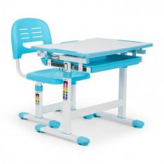 OneConcept Annika, birou de scris pentru copii, set de două piese, masă, scaun, reglabil pe înălțime, albastru