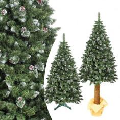 Brad artificial de Craciun, Pine Deluxe 220 cm cu conuri naturale, varfuri albe, tulpina de lemn, suport inclus