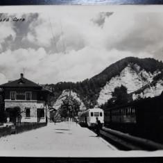 BREAZA - GARA - TREN AUTOMOTOR SI TREN CU LOCOMOTIVA - STAMPILA DE CENZURA 1942, Circulata, Fotografie