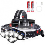 Lanterna de Cap Frontala Premium cu 8 LED-uri ,Accesorii incluse