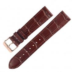 Curea piele naturala compatibila Bradley Timepiece, 20mm, Maro/Auriu