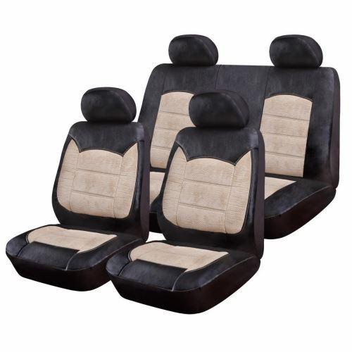 Huse Scaune Auto Renault Fluence RoGroup Luxury Negru Crem 9 Bucati