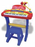 Orga electronica cu microfon, scaun si conexiune la dispozitive muzicale...