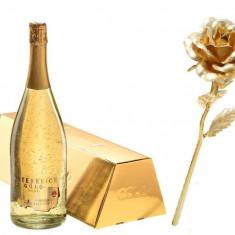 Cadou Gold Lady Sampanie cu foita de aur si Trandafir Aur