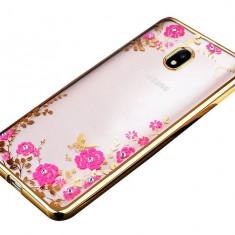 Husa Spate Flower Diamond Samsung J5 2016 Gold Silicon