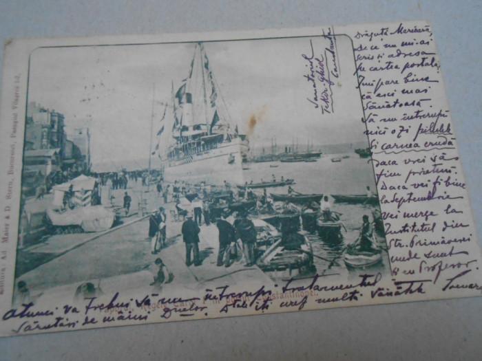 Carte postala, vaporul Regele Carol, 1901, circulat Ambulanta, foarte rara