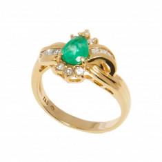 Inel din aur galben 14K cu smarald si diamante, circumferinta 52 mm