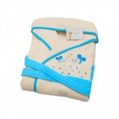 Halat de baie copii Valentini Bianco 6-8 ani Crem cu albastru