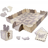 Covor puzzle cu laterale 36 piese Ikonka IK17565Gri/Bej