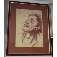 Manuell Manastireanu (n. 1973) pictor si grafician roman - Autoportret - carbune