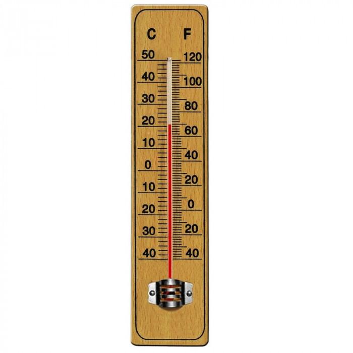 Termometru din lemn pentru interior exterior -40 C + 50 C