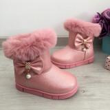 Cizme roz cu fundita imblanite de iarna fete copii din piele eco 17 21 22