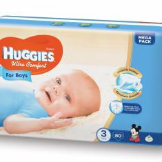 Scutece Huggies Ultra Confort Mega Pack 3, Baieti, 5–9 kg, 80 buc