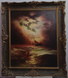 "Tablou - Naufragiații ""pictura"" pe placaj + alte 3, Marine, Pastel, Realism, ART"