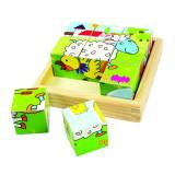Puzzle cubic Animale Domestice, 9 cuburi din lemn, dezvolta abilitati kinestezice, Bigjigs