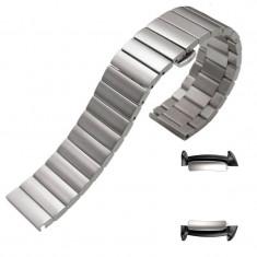 Curea din metal, adaptoare compatibile Samsung Gear Fit 2, Argintiu