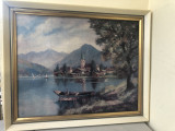 Litografie franceza,peisaj elvetian