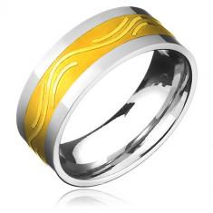 Verighetă din oțel chirurgical - fâșie aurie și valuri elegante - Marime inel: 67