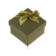 Cutiuță de cadou verde închis pentru inel sau cercei, fundă verde