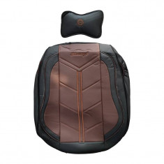 Huse auto 14 piese piele ecologica cu bancheta fractionata negru cu maro cu pernita model 9D