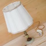 LAMPA VINTAGE DE NOPTIERA FACUTA DIN ALABASTRU SI ALAMA CU ABAJUR - 1KG !