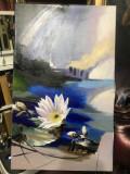 Tablou cu cu nufar pe apa, tablou cu peisaj de vara, tablou albastru.