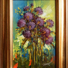 Crizanteme Ciclam, pictura originala semnata Ion VOINEAGU, Flori, Ulei, Impresionism