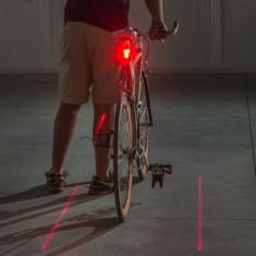 Lumina de semnalizare pentru bicicleta - 5 leduri rosii cu lasere foto
