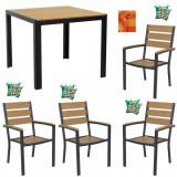 Set mobila gradina,terasa masa patrata cadru aluminiu POLYWOOD NATURAL 90x90x74cm cu 4 scaune 60x57x89cm , 4 perne , fata de masa B003012-95203-9520 R