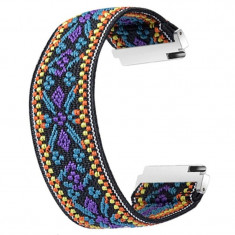 Curea textila elastica, compatibila Samsung Galaxy Watch3 40mm, telescoape Quick Release, Traditional Model