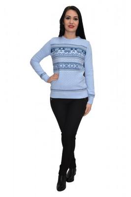 Bluza tricotat model cu fulgi de nea,nuanta albastru deschis foto