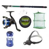 Cumpara ieftin Set pescuit sportiv cu lanseta 2.4 m, mulineta YF200 cu 5 rulmenti, felinar solar, lanterna frontala si acceso