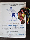 Diploma sportiva veche + Medalie, Romania 1987: Cupa Veteranilor