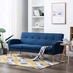 Canapea de 3 persoane, material textil, albastru