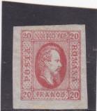 ROMANIA 1865 LP 17  A. I.CUZA  VALOAREA  20  PARALE  ROSU  POINCON L. PASCANU