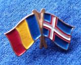 Insigna steag - drapel Romania Norvegia