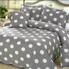 Cuvertura de pat + 4 Fete de Perna - Pat 2 Persoane - 100% Bumbac - E-S38