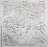 HARTA ZONEI TARGUL URLATI SI IMPREJURIMI , SCARA 1 / 50.000 , POLICROMA , TIPARITA IN 1911