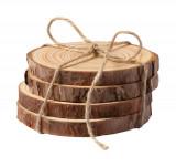 Set suport pahare 4 bucati, Ø100x40 mm, Everestus, 20IUN1873, Natur, Lemn, laveta inclusa