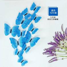 Fluturi 3D magnet, dubli, decoratiuni casa, evenimente, 12 bucati, albastru, A30