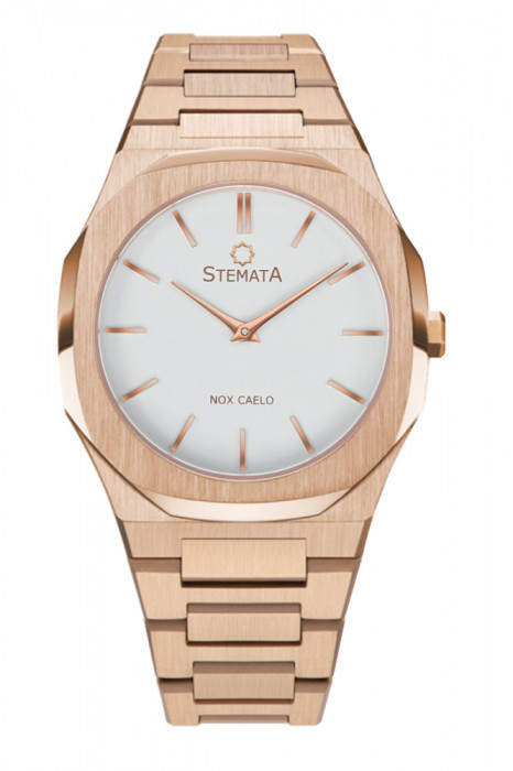 Ceas Stemata Code, quartz, auriu roz alb, otel inoxidabil, 38 mm