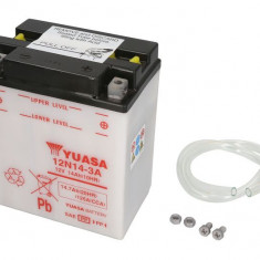Baterie moto Acid cu intretinere YUASA 12V 14Ah 125A R+ aerisire stanga 134x89x166 Incarcare uscata fara acid