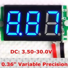 Voltmetru digital cu leduri albastre, 3.5 - 30 V, culoare negru, 3 digit, 2 fire