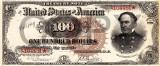 100 dolari 1890 Reproducere Bancnota USD , Dimensiune reala 1:1
