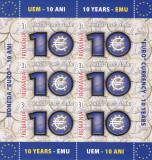 Romania 2009 , Lp 1825a , 10 Ani Moneda Euro , MINISHEET FOLIO AUR,MNH ** ., Istorie, Nestampilat