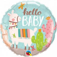Balon Baby Shower Botez Hello Baby Llama folie metalizata 43cm foto