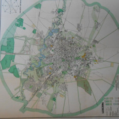Harta Bucuresti 1934, litografiata, ed. Dorelia, 100x90 cm, caserata, perfecta